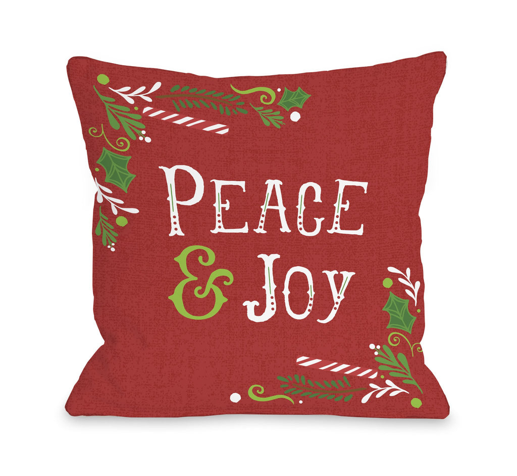 Peace and Joy Red Throw Pillow - Christmas Decor - Premier Home & Gifts