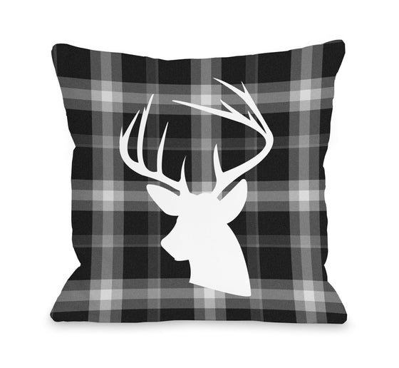 Deer Black Plaid Throw Pillow - Christmas Decor - Premier Home & Gifts