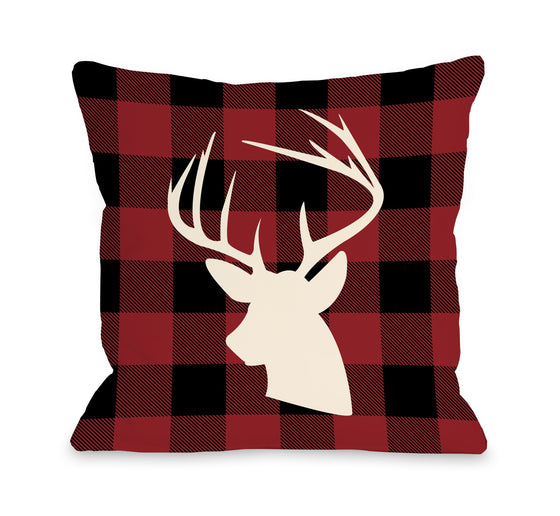 Deer Red Plaid Throw Pillow - Fall Decor - Premier Home & Gifts