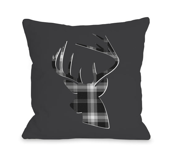 Deer Gray Plaid Throw Pillow - Fall Decor - Premier Home & Gifts