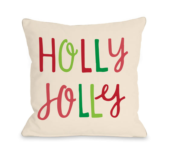Holly Jolly Colorful Throw Pillow - Christmas Decor - Premier Home & Gifts