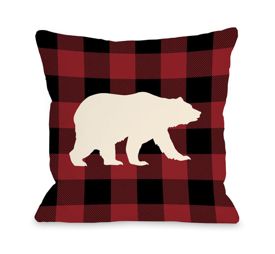 Bear Red Plaid Throw Pillow - Cabin Decor - Premier Home & Gifts