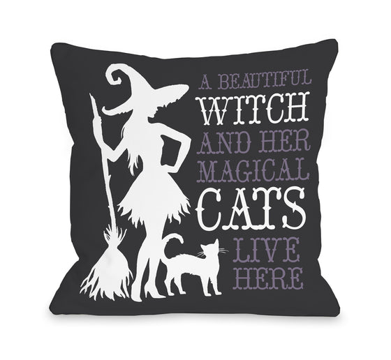 Beautiful Witch Throw Pillow - Premier Home & Gifts - Halloween Decorative Pillows