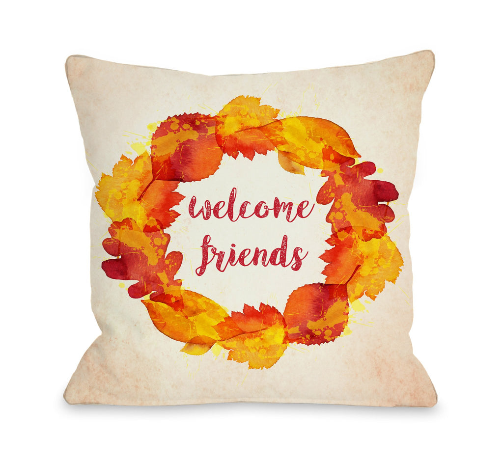 Welcome Friends Fall Wreath Throw Pillow - Fall Decor - Premier Home & Gifts