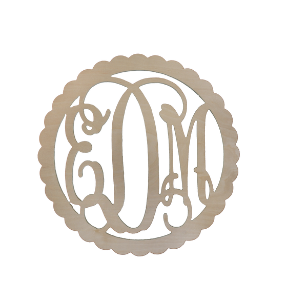 Scallop Wood Monogram - Monogrammed Gifts