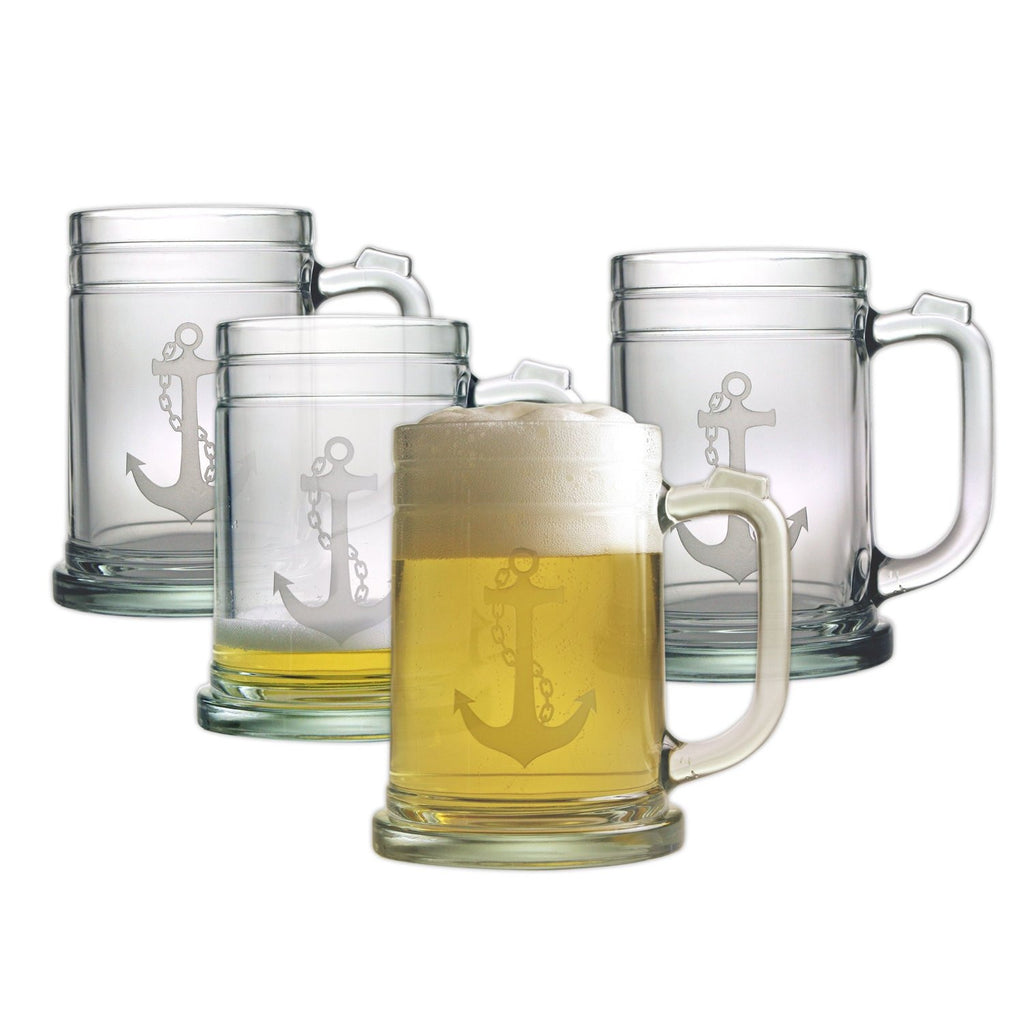 Anchor Tankard Beer Mugs ~ Set of 4