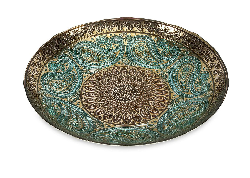 Peacock Paisley Decorative Glass Bowl