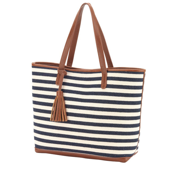 Chandler Stripe Tote Bag - Navy