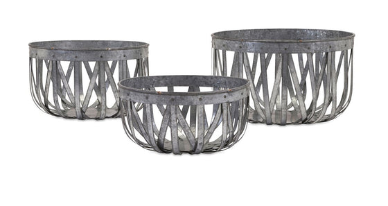 Ada Galvanized Baskets - Set of 3 | Premier Home & Gifts
