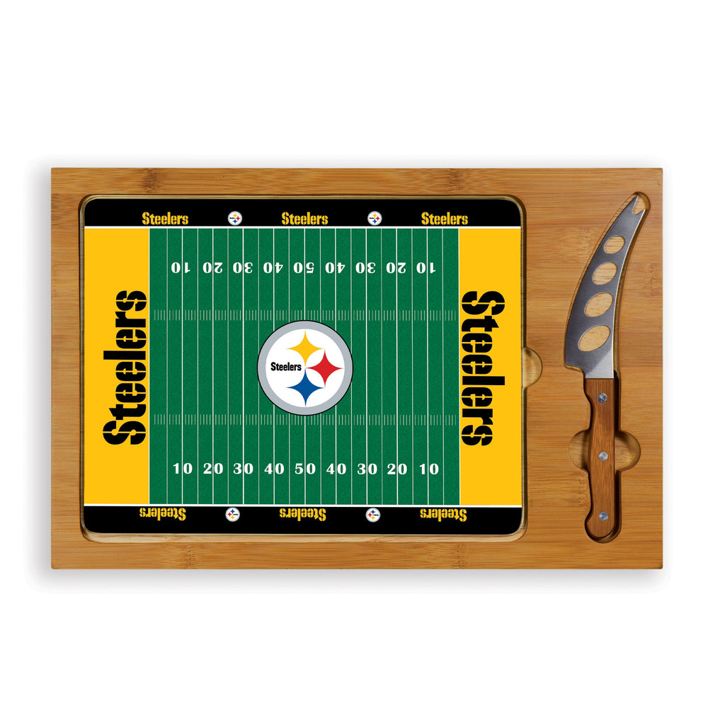 NFL Glass and Wood Cheese Board - Pittsburgh Steelers