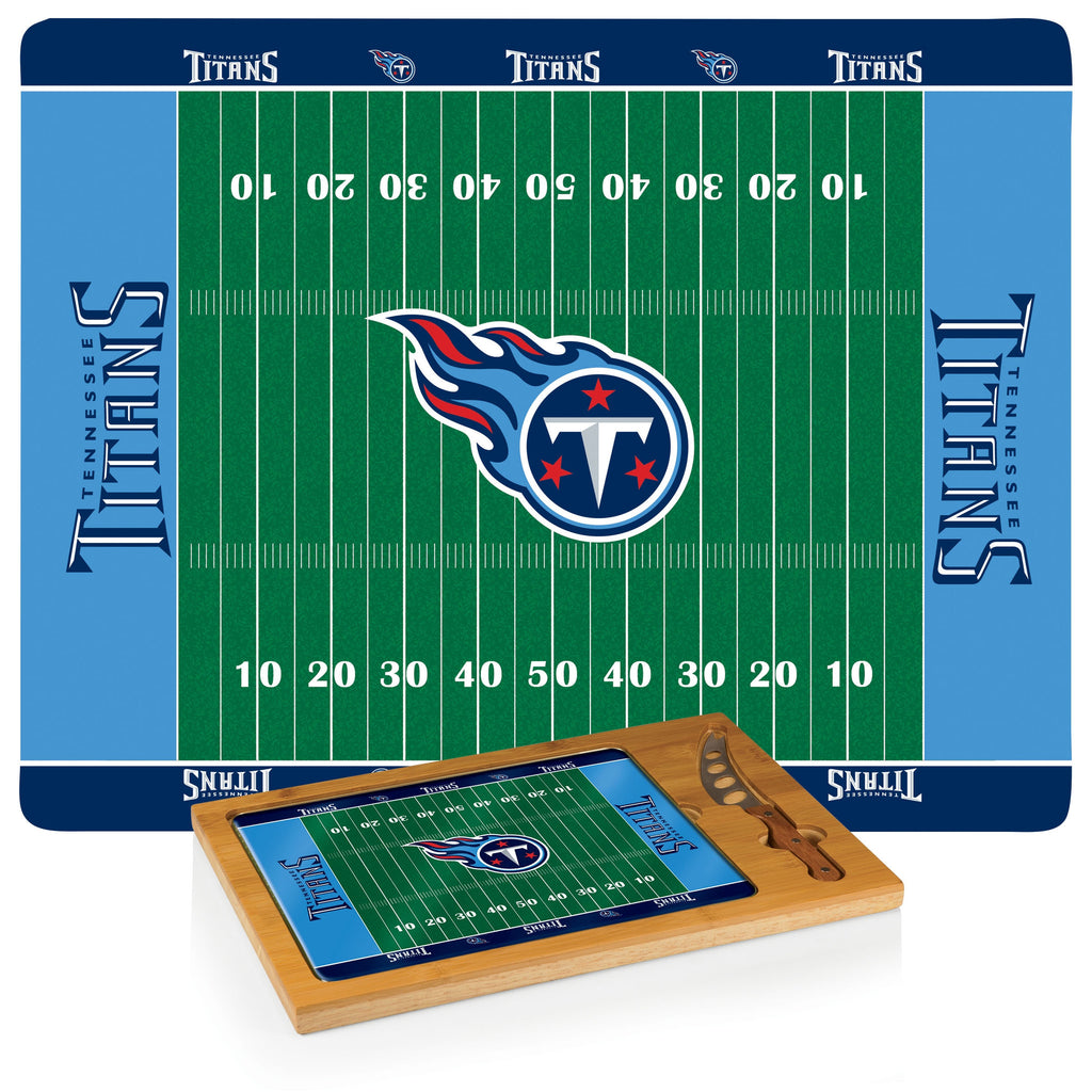 NFL Glass and Wood Cheese Board - Tennessee Titans