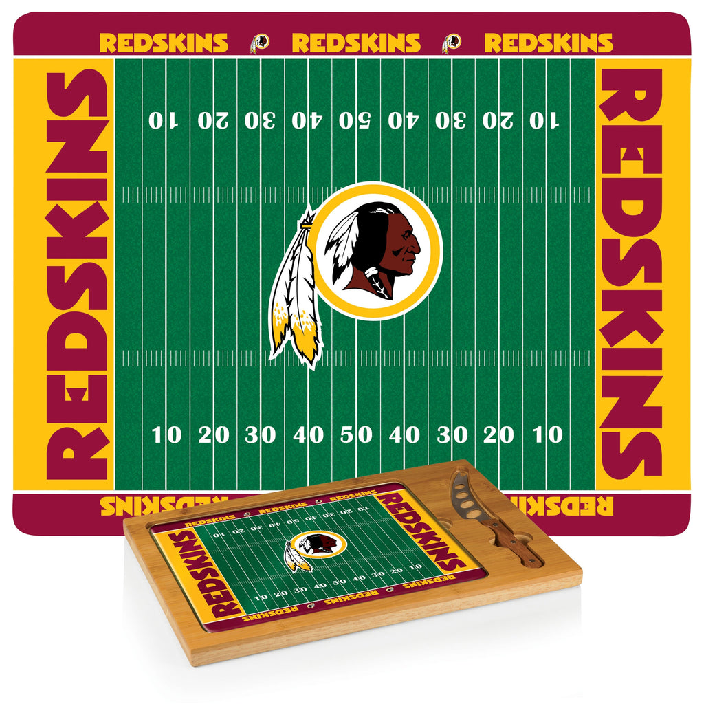 NFL Glass and Wood Cheese Board - Washington Redskins