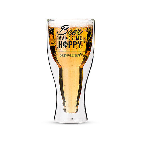 Beer Makes Me Hoppy - Double Walled Beer Glass | Premier Home & Gifts