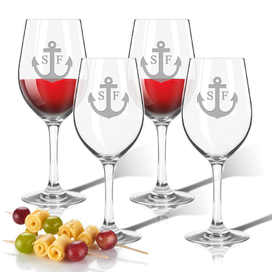 Anchor Initial Outdoor Acrylic Wine Glasses - Lake House Gifts