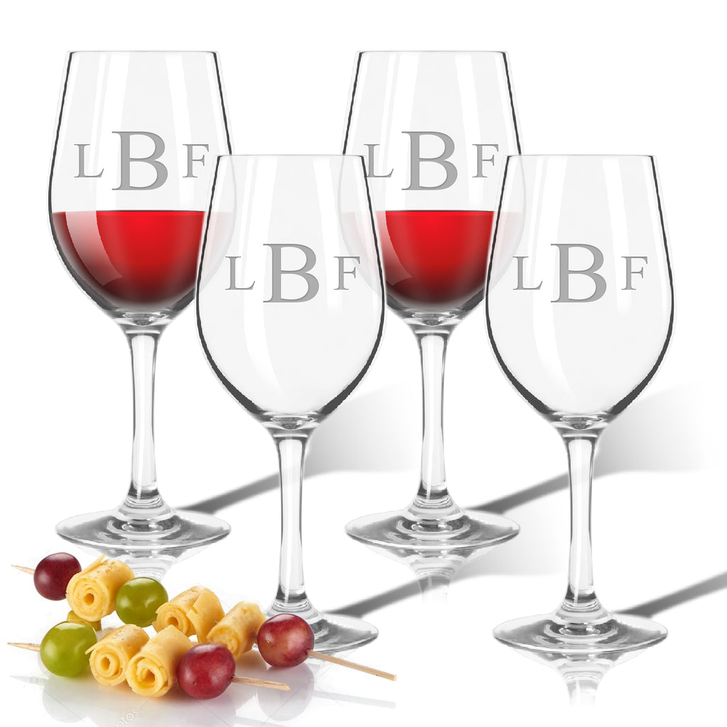 Monogram Simple Outdoor Acrylic Wine Glasses - Lake House Gifts