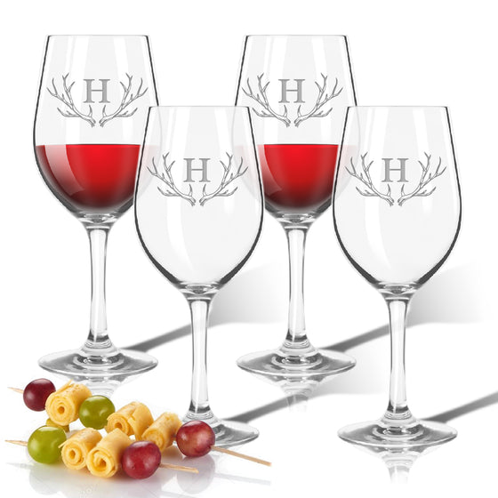 Antler Initial Outdoor Acrylic Wine Glasses - Premier Home & Gifts