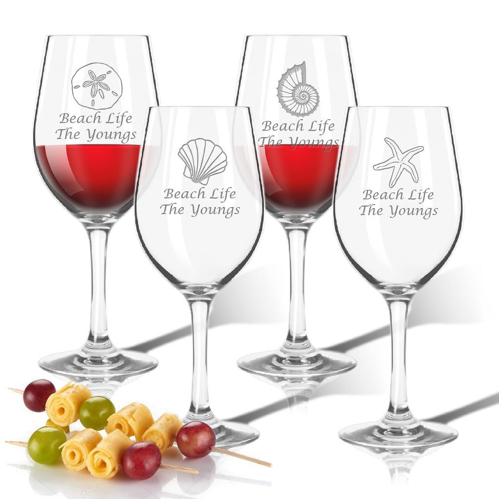 Seashells Outdoor Acrylic Wine Glasses - Unbreakable Glassware