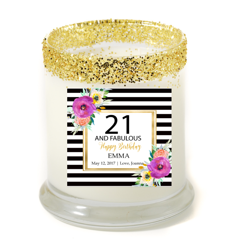 Abella 40 Fabulous Birthday Personalized Candle - Example Candle - Premier Home & Gifts