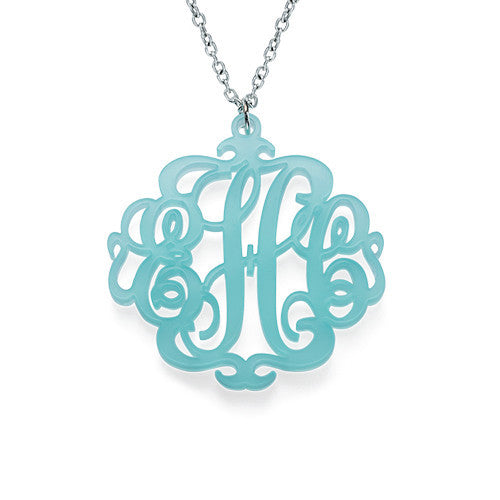 Acrylic Monogram Necklace - Scroll