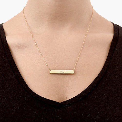 18K Plated Gold Bar Necklace with Engraving