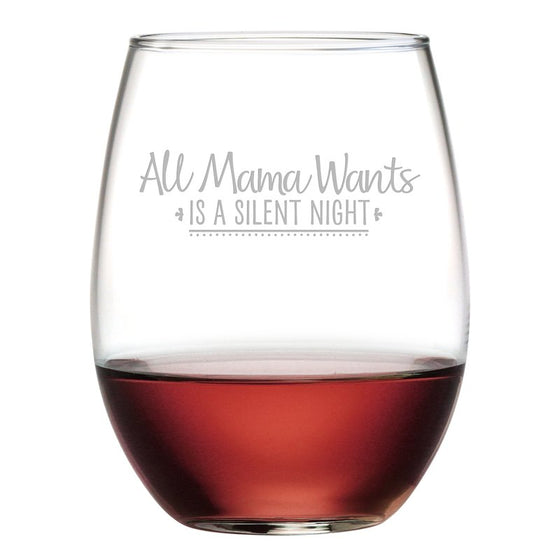 Silent Night Christmas Stemless Wine Glasses ~ Christmas Gifts