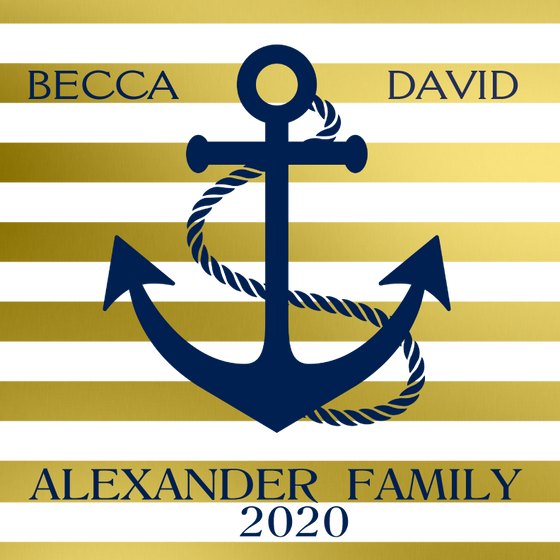 Anchor Gold Stripes Personalized Candle - Premier Home & Gifts