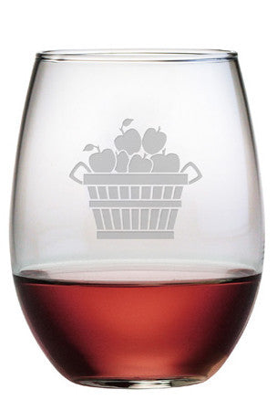 Apple Basket Stemless Wine Glasses ~ Set of 4