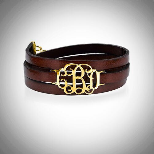 Monogram Leather Wrap Bracelet - 18K Gold Plated