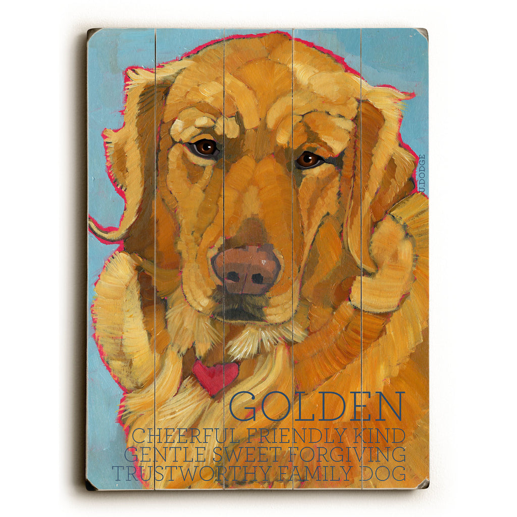 Golden Retriever II Wood Sign