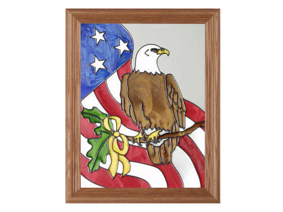 Eagle Branch Hand Painted Stained Glass Art