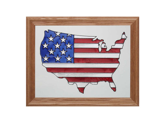 USA Hand Painted Stained Glass Art