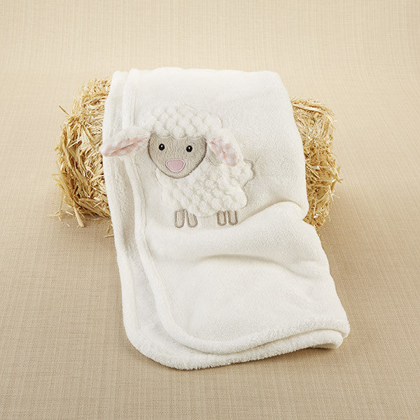 Lamb Plush Velour Baby Blanket