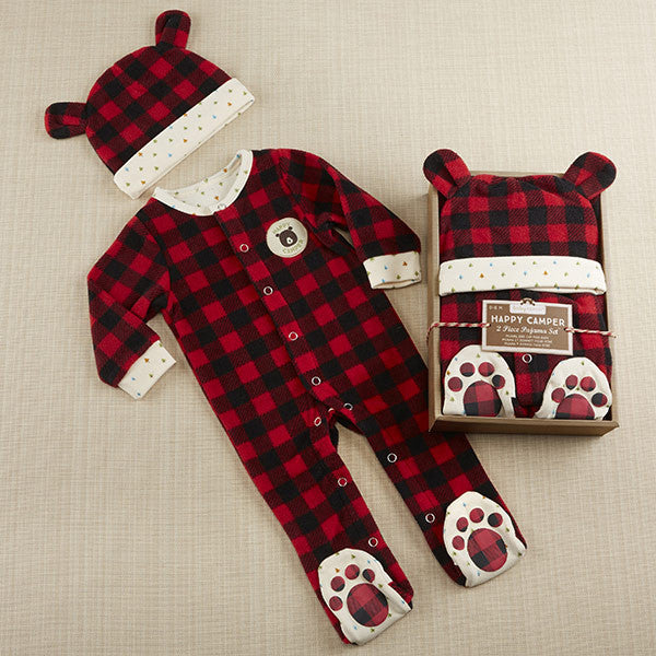 happy camper red plaid fleece pajama gift set