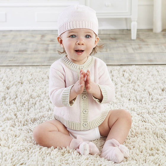 Baby Cardigan and Cap - Pink Polka Dot | Premier Home & Gifts