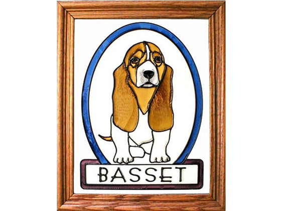 Basset Hound Hand Painted Stained Glass Art