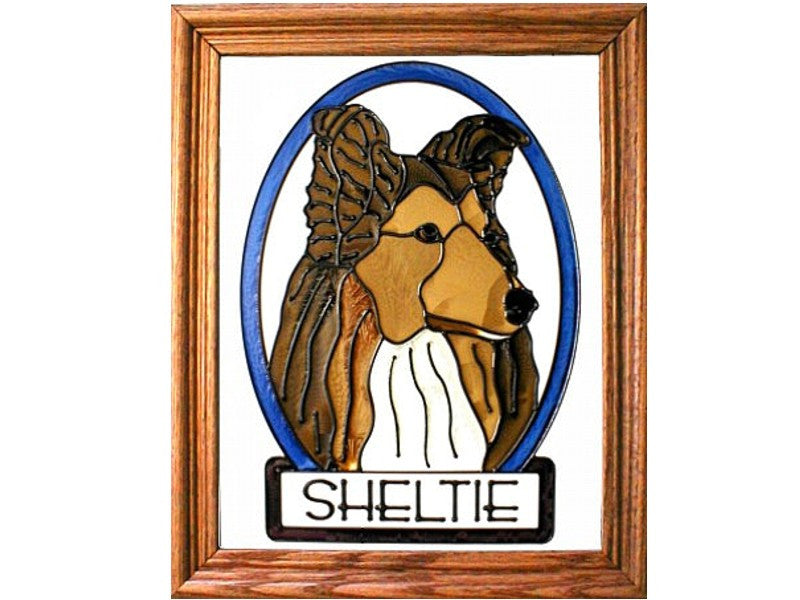 Sheltie Hand Painted Stained Glass Art