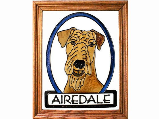Airedale Dog Hand Painted Stained Glass Art