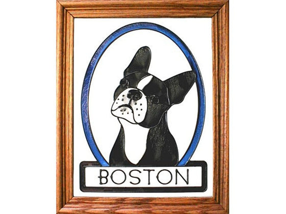 Boston Terrier Hand Painted Stained Glass Art