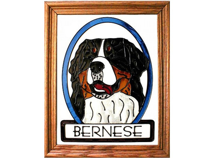 Bernese Mountain Dog Hand Painted Stained Glass Art