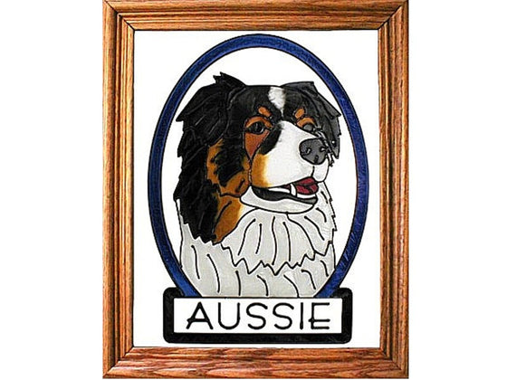 Australian Shepherd Dog Hand Painted Stained Glass Art