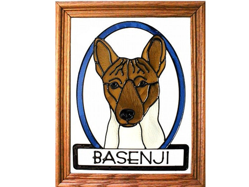 Basenji Dog Hand Painted Stained Glass Art