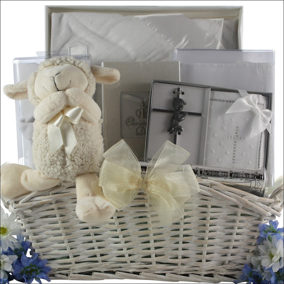 Baptism Blessings Baby Boy Gift Basket - Premier Home & Gifts