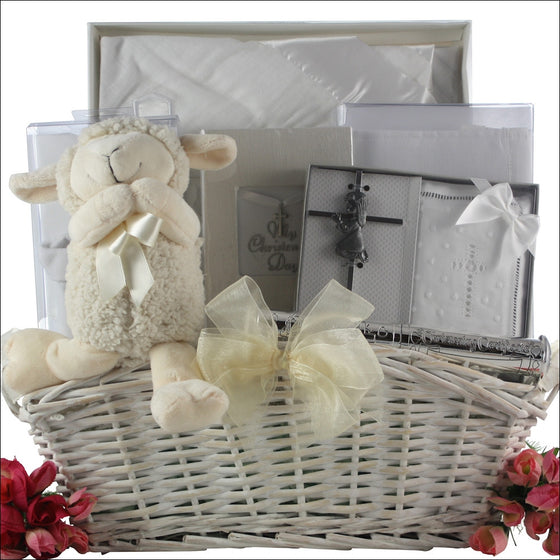 Baptism Blessings Baby Girl Gift Basket - Premier Home & Gifts