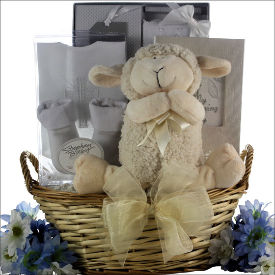Bless This Baby Boy Christening Baptism Gift Basket - Premier Home & Gifts
