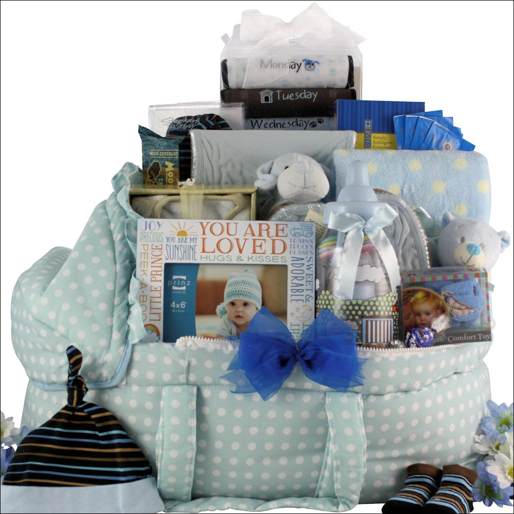 Best Wishes Baby Boy Lux Baby Gift Basket - Premier Home & Gifts