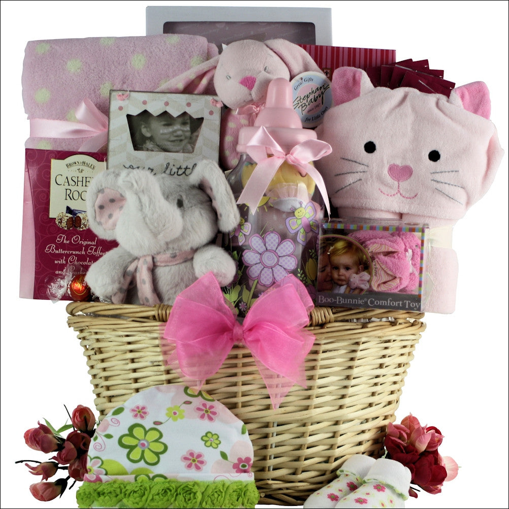 Congratulations Baby Girl Baby Gift Basket - Premier Home & Gifts
