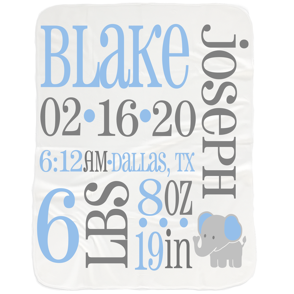 Baby Boy Birth Stats Blanket - Baby Shower Gifts for Baby Boys
