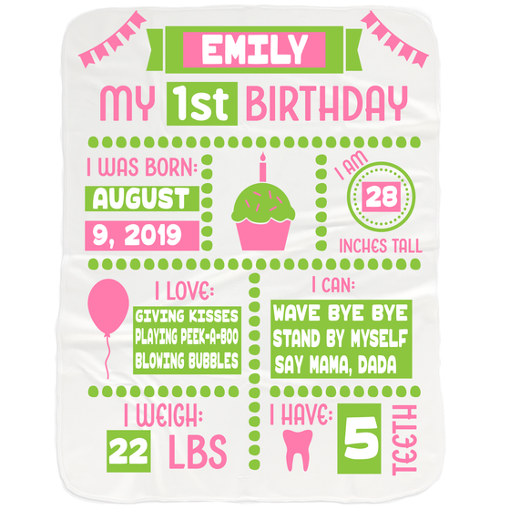 Baby Girl 1st Birthday Milestone Blanket - Gifts for 1st Birthday