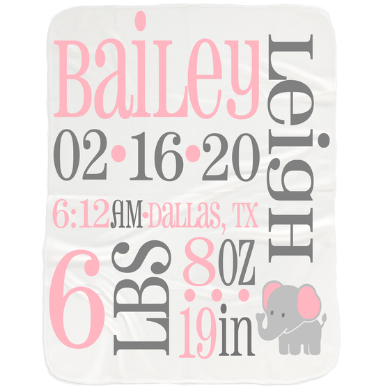 Baby Girl Birth Stats Blanket - Baby Shower Gifts for Girls