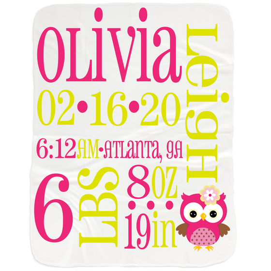 Baby Girl Birth Stats Blanket - Gifts for Newborn Girls